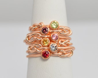 Grab 6 14k Rose Gold Filled Infinity Ring, Rose Gold Filled Ring , Stackable Rings, Mothers Ring, Birthstone, Rose Gold, Rose Gold Knot Ring