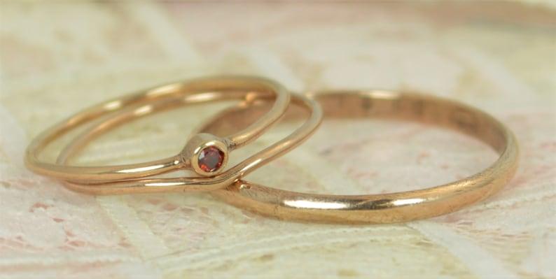 Tiny Garnet Wedding Ring Set Natural Garnet Garnet Ring 14K image 0