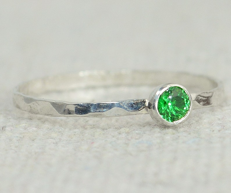 Dainty Emerald Ring Hammered Silver Stackable Rings image 0
