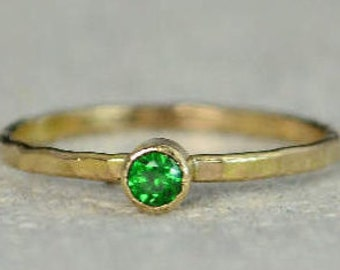 Classic 14k Gold Filled Emerald Ring, Gold Solitaire, Solitaire Ring, 14k Gold Filled, May Birthstone, Mother's Ring, Gold Band, Yellow