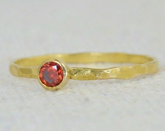 Dainty Gold Filled Garnet Ring, Hammered Gold, Stackable Rings, Mother's Ring, January Birthstone Ring, Skinny Ring, Birthday Ring, Garnet