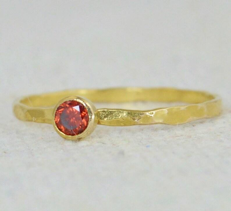 Dainty Gold Filled Garnet Ring Hammered Gold Stackable image 0