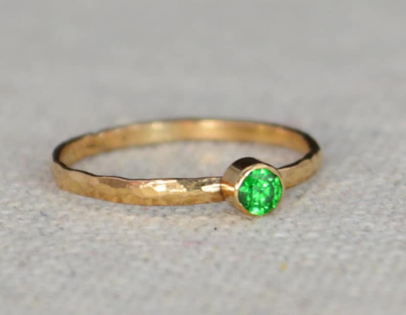 Classic Rose Gold Filled Emerald Ring Solitaire Solitaire image 0