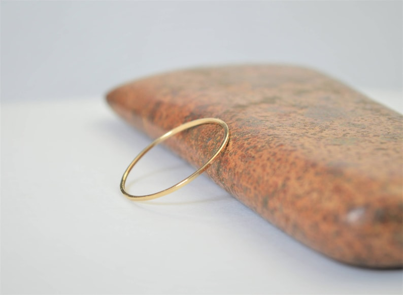 Solid 14k Yellow Gold Square Ring Smooth Stacking Ring image 0