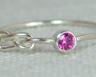 Ruby Infinity Ring, Sterling Silver, Stackable Rings, Mother's Ring, July Birthstone Ring, Infinity Ring, Silver Ruby Ring