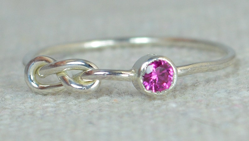 Ruby Infinity Ring Sterling Silver Stackable Rings image 0