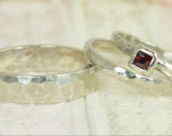Square Garnet Engagement Ring, 14k White Gold, Garnet Wedding Ring Set, Rustic Wedding Ring Set, January Birthstone, Solid Gold, Garnet Ring