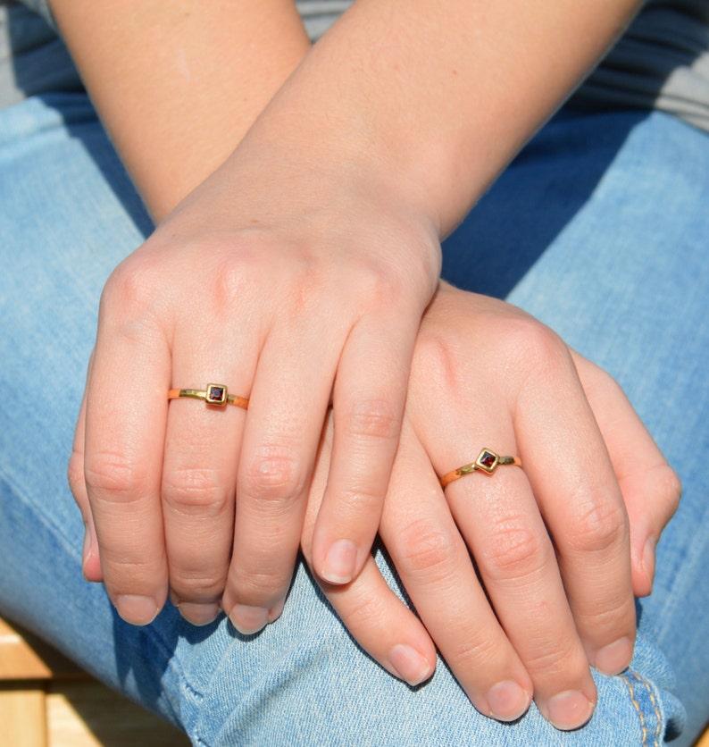 Square Garnet Ring Garnet Solitaire Gold Filled Garnet Ring image 1