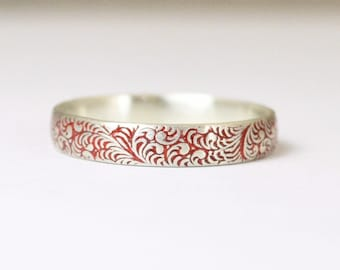 Floral Band, Silver Flower Ring, Swirl Ring, Red Ring, Sterling Silver Ring, Sterling Stack Ring, Silver Band, Romantic Boho Ring