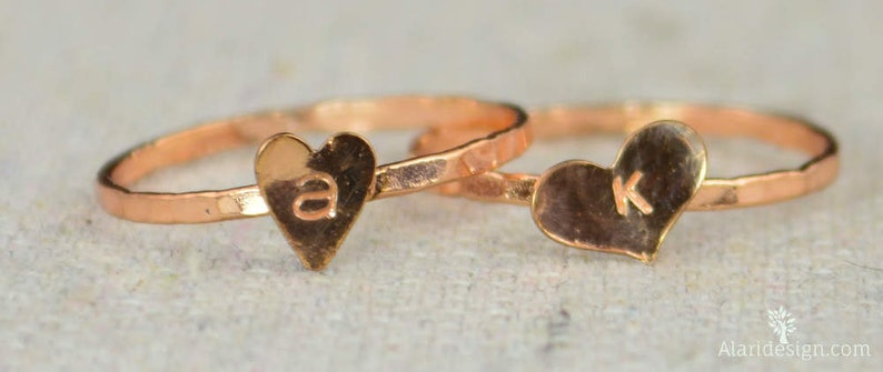 Golden Rose Heart Ring Sterling Silver Stacking Ring image 0