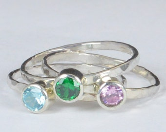 Grab 3 - Small Silver Mothers Rings, Mother's Ring, Grandmas Rings, Mommy Ring, Mothers Jewelry, Gift for Mom, Grandma's Ring