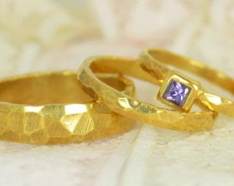 Amethyst Engagement Ring, 14k  Gold, Amethyst Wedding Ring Set, Rustic Wedding Ring Set, February Birthstone, Solid Gold, Amethyst Ring