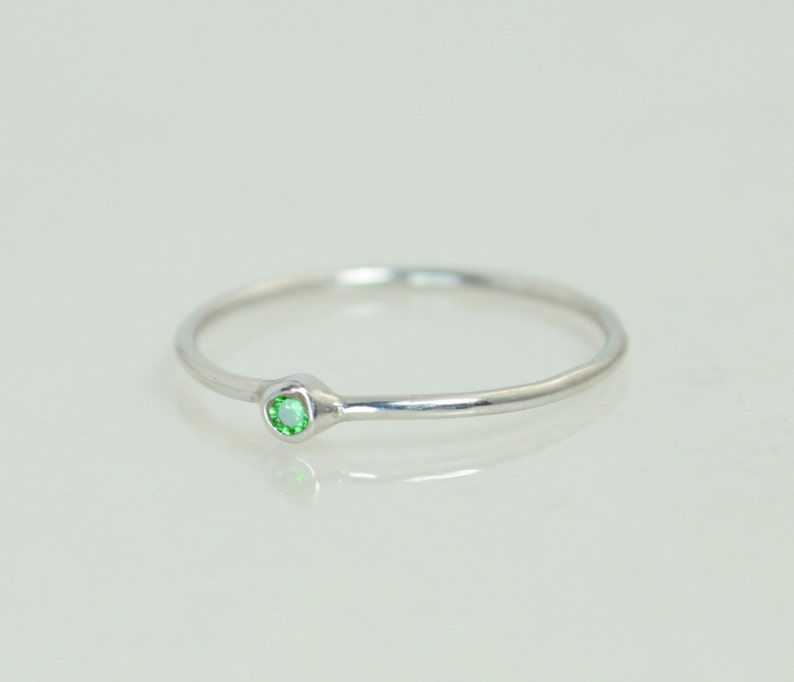 Tiny White Gold Emerald Ring May Ring Tiny Emerald Stacking image 0