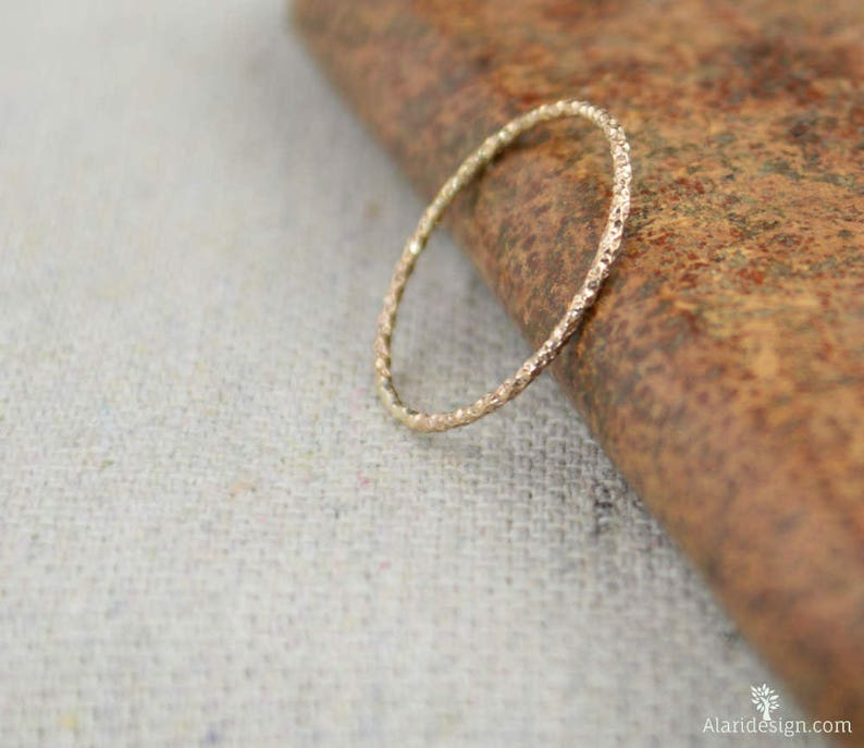 Thin Round Faceted 14k Rose Gold Fill Rings Dainty Rose image 0