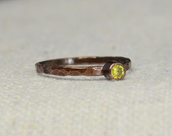 Bronze Copper Topaz Ring, Classic Size, Stackable Rings, Mother's Ring, November Birthstone, Copper Jewelry, Yellow Ring, Pure Copper, Band