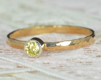 Topaz Engagement Ring, 14k Rose Gold, Topaz Wedding Ring Set, Rustic Wedding Ring Set, November Birthstone, Solid 14k Topaz Ring