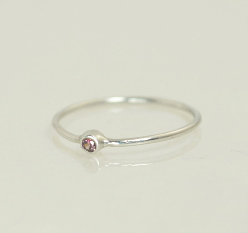 Alexandrite Ring White Gold Ring June Ring Stacking Ring image 0