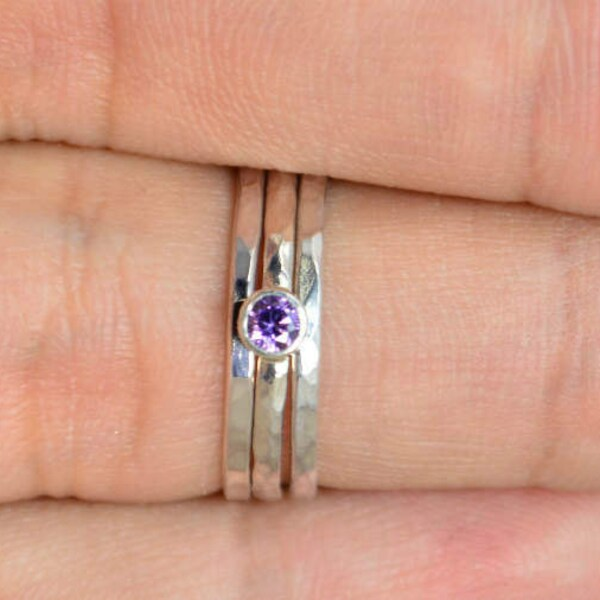 Classic Sterling Silver Amethyst Ring Silver Solitaire image 1
