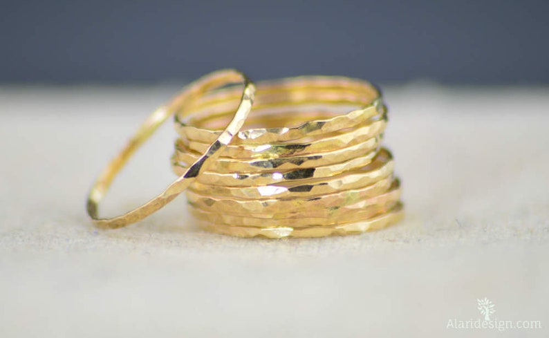 Super Thin 14k Gold filled Stackable Rings thin ring midi image 0