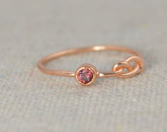 Alexandrite Infinity Ring, Rose Gold Filled Ring, Stackable Rings, Mother's Ring, June Birthstone Ring, Rose Gold Ring, Rose Gold Knot Ring