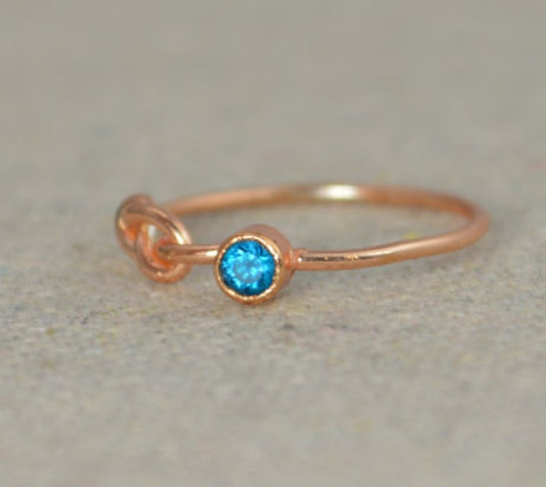 Blue Zircon Infinity Ring Rose Gold Filled Ring Stackable image 0