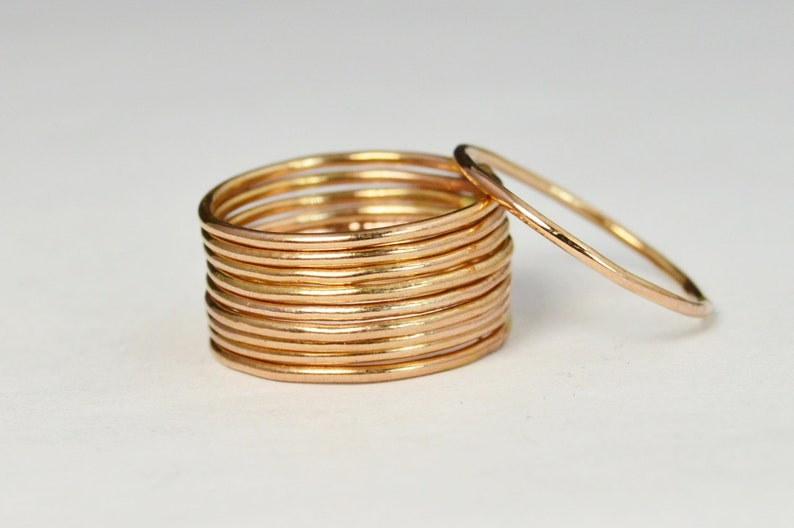 Thin Round 14k Rose Gold Filled Stackable Rings Stacking image 0