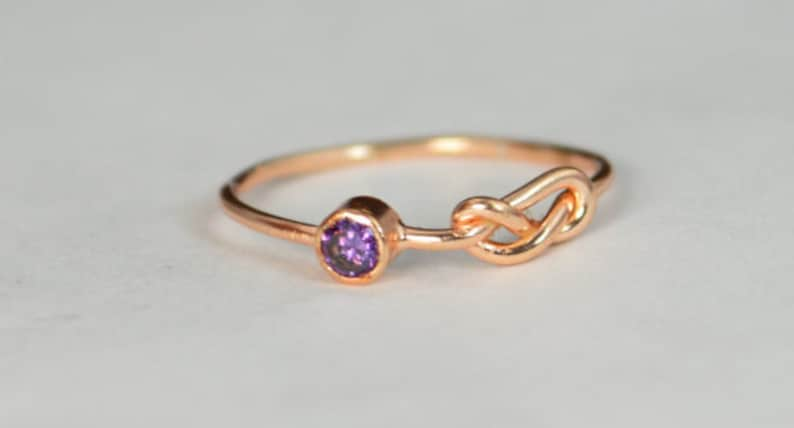14k Rose Gold Amethyst Infinity Ring 14k Rose Gold Stackable image 0