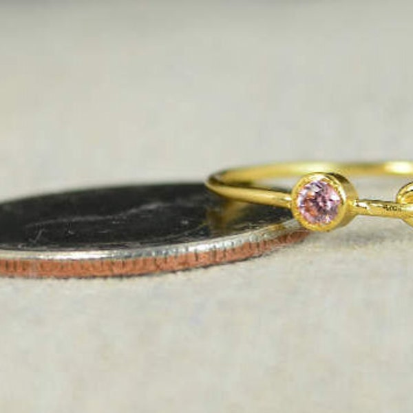 Pink Tourmaline Infinity Ring Gold Filled Ring Stackable image 2