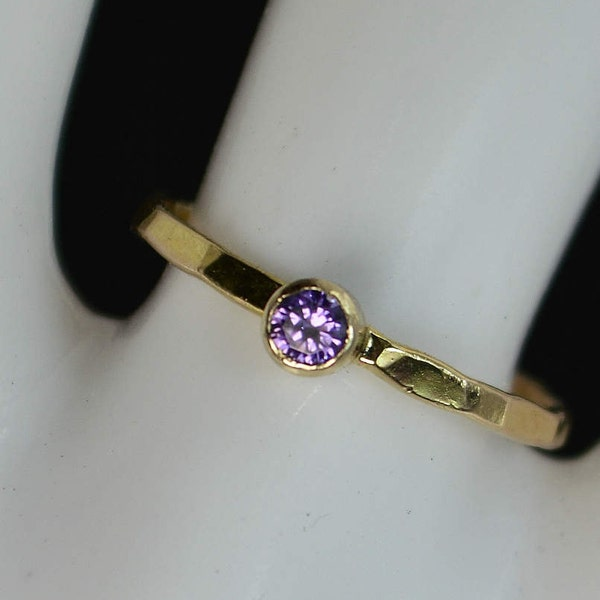 Classic 14k Gold Filled Amethyst Ring Gold Solitaire image 1