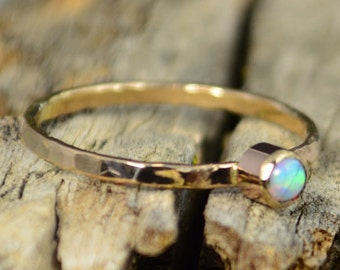 Classic Solid 14k Gold Opal Ring, 3mm Gold Solitaire, October's Birthstone, 14k Gold, Solitiare, Mothers Ring, Solid Gold Band, Gold