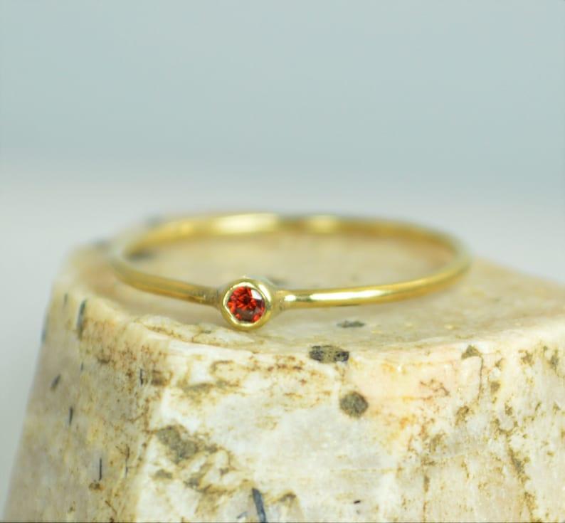 Tiny Garnet Ring 14k Solid Gold Garnet Ring Garnet Stacking image 0