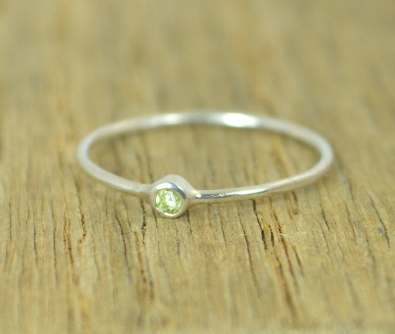 Tiny Peridot Ring Peridot Ring Tiny Silver Ring Stacking image 0