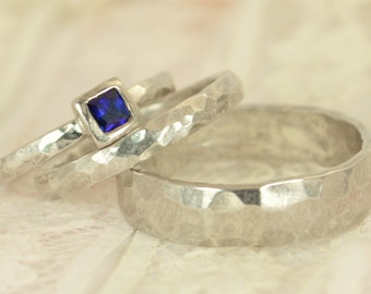 Square Sapphire Engagement Ring, 14k White Gold, Sapphire Wedding Ring Set, Rustic Wedding Ring Set, September Birthstone, Solid Gold