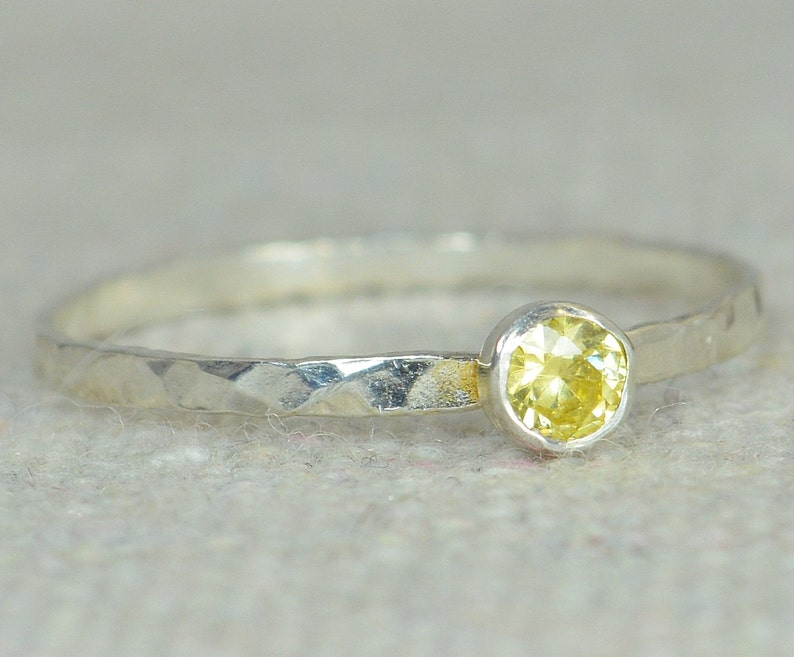 Dainty Gold Topaz Ring Silver Stackable Rings Mothers Ring image 0