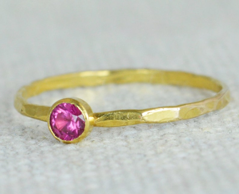Dainty Gold Ruby Ring Hammered Gold Stackable Rings image 0