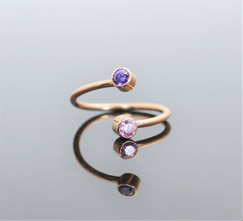 Rose Gold Bypass Ring Bypass Ring Wrap Ring Dual Stone image 0
