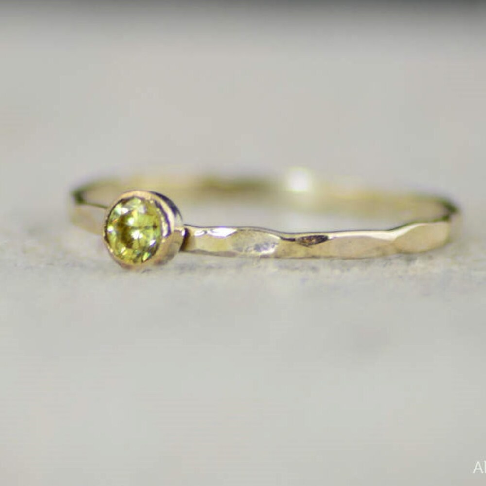 Dainty Gold Filled Topaz Ring Hammered Gold Stacking Rings image 0
