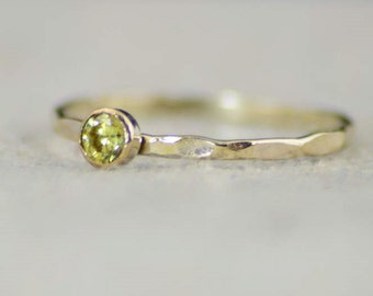 Dainty Gold Filled Topaz Ring, Hammered Gold, Stacking Rings, Mothers Ring, November Birthstone Ring, Topaz Ring, Rustic Topaz Ring, Dainty