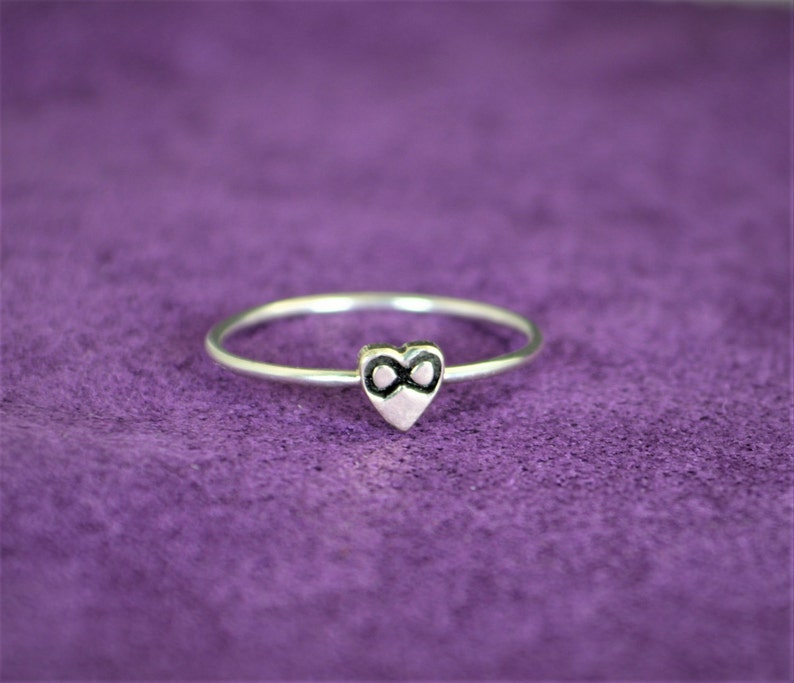 Silver Infinity Ring Monogram Heart Ring Silver Heart Ring image 0