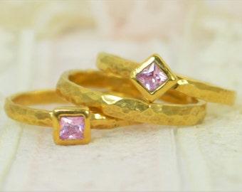 Square Pink Tourmaline Engagement Ring, 14k Gold Filled, Tourmaline Wedding Ring Set, Rustic Wedding Ring Set, October Birthstone Tourmaline