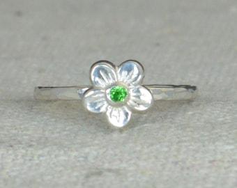 Emerald Flower Ring, Flower Ring, Floral Ring, Emerald Ring, Flower Jewelry, Sterling Flower Ring, Nature Ring, Flower Girl Ring, Dainty