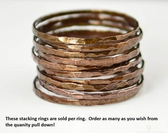 Super Thin Bronze Copper Stackable Ring(s), Bronze Ring, Skinny Ring, Copper Band, Arthritis Ring, Alari, Hammered Ring, Stacking Ring