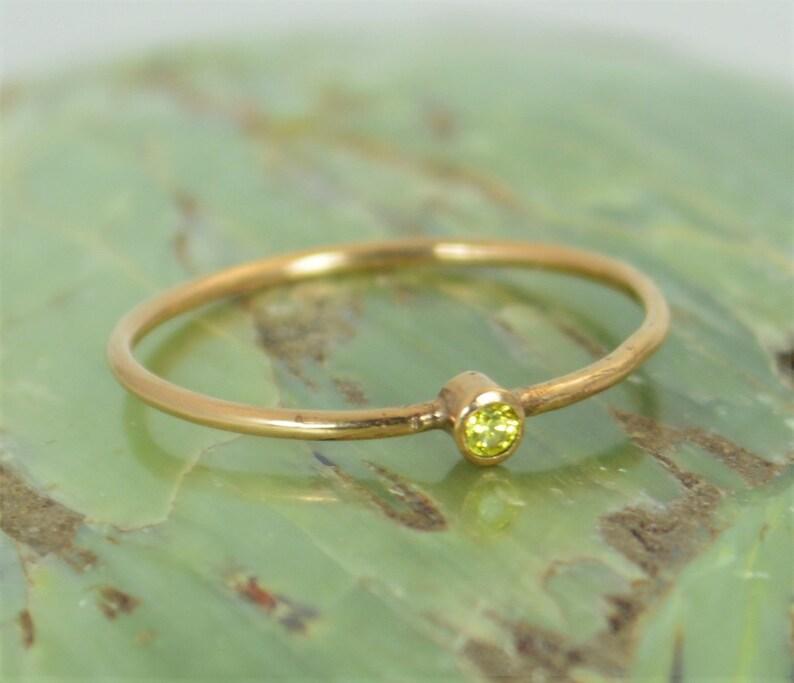 Tiny Topaz Ring Solid 14k Rose Gold Topaz Ring Topaz image 0