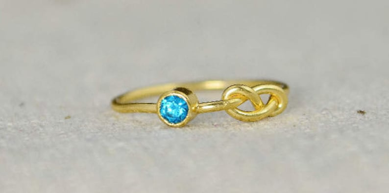 Blue Zircon Infinity Ring Gold Filled Ring Stackable Rings image 0