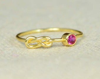 Ruby Infinity Ring, Gold Filled Ring, Stackable Rings, Mother's Ring, July Birthstone Ring, Gold Infinity Ring, Gold Knot Ring