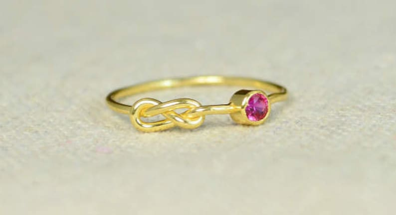 Ruby Infinity Ring Gold Filled Ring Stackable Rings image 0