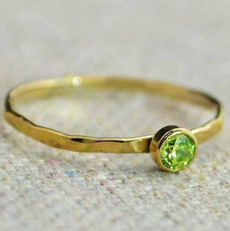 Dainty Gold Peridot Ring Hammered Gold Stackable Rings image 0
