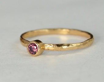 Classic Solid 14k Rose Gold Alexandrite Ring, 3mm Solitaire, Purple Ring, Real Gold, June Birthstone, Mothers Ring, Solid Rose Gold, band