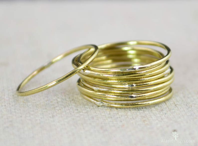 Thin Round Brass Stacking Rings Gold Brass Ring Brass image 0