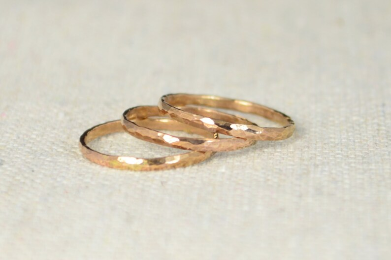 Classic Rose Gold Stackable Rings 14k Rose Gold Filled image 0